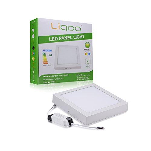 Liqoo® 18W 205x205x25mm Warmweiß LED Einbaustrahler Decken Lampe Strahler Deckenleuchte Eckig inkl. LED Trafo 3200K 2835 SMD, direkte installation 1350Lumen Ersetzt 100W AC85-265V