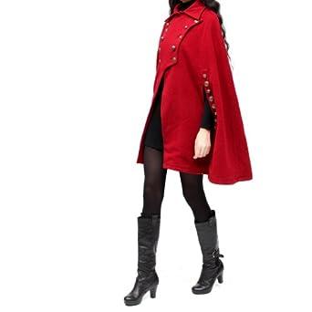 Artka Women's Rivet Decorated Retro Cloak Woolen Coat, Red, One Size