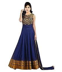 omsai fashion Women's Net semi-stitched Dress Material (bombay-blue.A_blue)