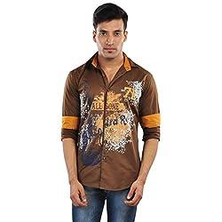 CREEDS Men's Chocolate Brown Cotton Casual Shirt(Large)