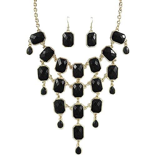 PammyJ Necklace Goldtone Black Chandelier Bib Statement Necklace And Earring Set Fashion Jewelry