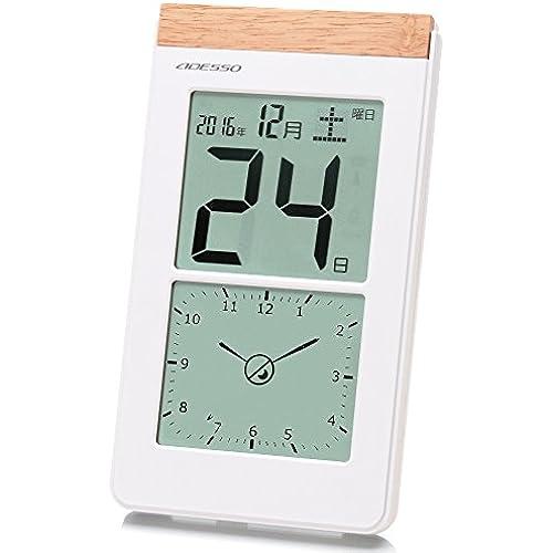 ADESSO 벽시계 디지탈 일력 전파 시계 아날로그식 디지탈 표시 부착 두어 걸이 겸용 화이트 K-8656