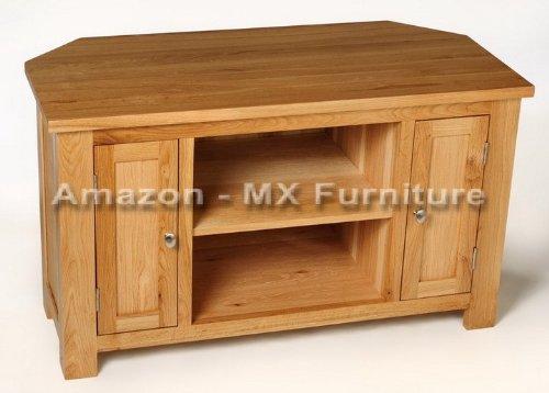 Solid Oak 2 Door Corner TV Unit / Cabinet