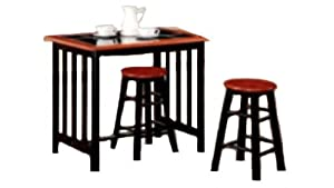 Li lo Leisure Products Ltd. 3 Piece Tile Top Breakfast Bar, Black/ Cherry       reviews and more information