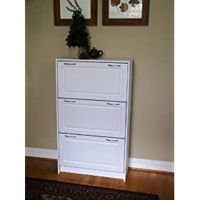 Deluxe Triple Shoe Cabinet- White Finish