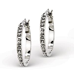 Genuine IceCarats Designer Jewelry Gift Sterling Silver Diamond Mystique Round Hoop Earrings In Sterling Silver
