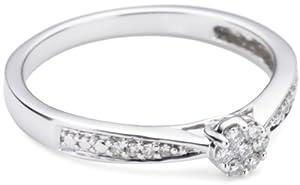 Bella Donna Damen Diamantring 375/000 Weissgold 7 Brillanten  0,07ct. W-PI  8 Diamanten 0,03ct. W-PI   52  656048
