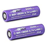 2 Efest Purple IMR 35A 18650 2500mAh 3.7v Rechargeable Flat Top Batteries