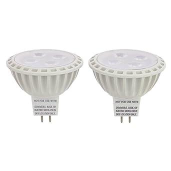 LEDwholesalers MR16 UL Listed 5-Watt (35W Equivalent) LED Spot Light with Interchangeable Wide Angle Flood Lens 12V AC/DC, Pack of 2, Warm White, 1245WW