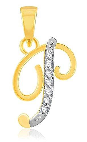 "YouBella American Diamond Gold and Rhodium plated Jewellery Pendant – Letter ""P"" : Best Rakhi Gift Jewellery"