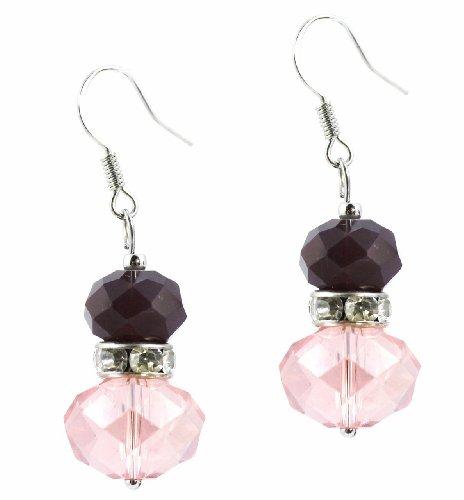 C.A.K.E. By Ali Khan Earrings, Silver-Tone Pink And Purple Glass Drop Earrings