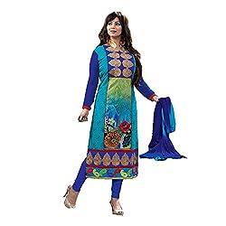 Fashion Ritmo Women Cotton Dress Material (Elegant Eyesha _Blue _Free Size)