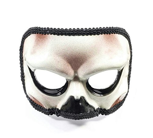 Adult White Black Skeleton Skull Halloween Costume Half Mask