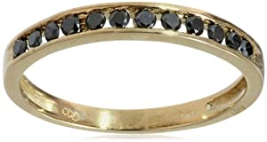 10k Yellow Gold Channel-Set Black Diamond Ring (1/4 cttw), Size 7