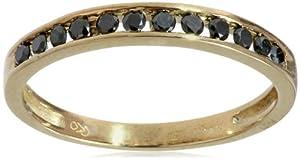 10k Yellow Gold Channel-Set Black Diamond Ring (1/4 cttw), Size 7
