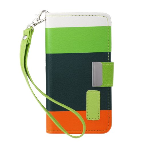 Wallet Credit Card Slots Flip Stand Hostler Cover For Iphone 5 5S Case +Lcd Screen Protector + Stylus As Gifts (Green+Dark Green+Orange)
