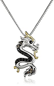 Sterling Silver and 14k Yellow Gold Black and Champagne Diamond Dragon Pendant Necklace (0.14 cttw), 18