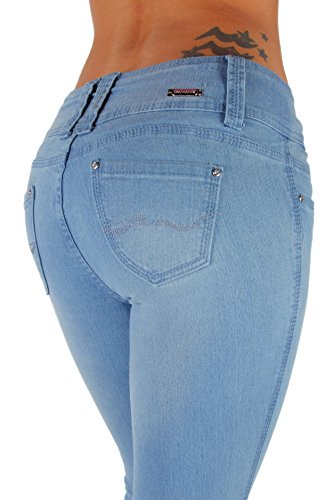 B925K-P- Plus Size, Colombian Design, Butt Lift, Levanta Cola, Skinny Jeans in Light Blue Size 18 (Light Blue Skinny compare prices)