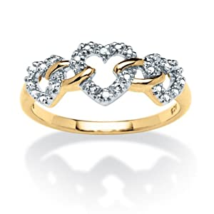 White Diamond Accent 18k Gold over .925 Sterling Silver Triple Heart-Link Ring