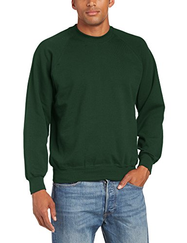 fruit-of-the-loom-sweat-shirt-col-ras-du-cou-manches-longues-homme-vert-vert-bouteille-large
