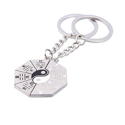 2pcs Donne Uomo Gioielli argento lega Split anello portachiavi a forma di Yin Yang set regalo unico per famiglia amico