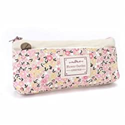 Mori Girl Style School Pencil Case Fresh Floral Printed School Supplies Simple Canvas Stationery - Beige