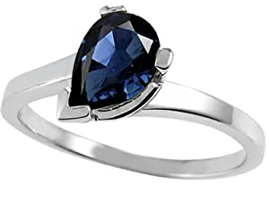 Tommaso Design Pear Shape 8x6 mm Genuine Sapphire Ring 14k Size 4