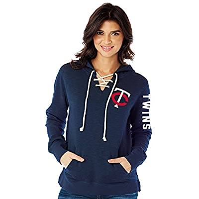 MLB Minnesota Twins Women's Slub Fleece Lace Hoodie, Medium, Navy