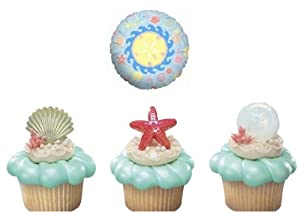 12 Seashell Cupcake Rings with Seashell Theme Foil Balloon - Seashell Bundle
