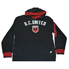 D.C. United Adidas Black Embroidered Logo Cotton Blend Hoodie Sweatshirt (L) by adidas