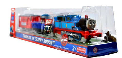 Fisher Price Year 2009 Thomas and Friends Greatest Moments Series Trackmaster Motorized Railway Battery Powered Tank Engine 3 Pack Train Set - THOMAS in