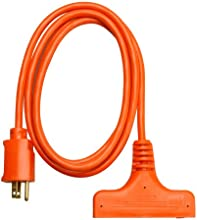 Coleman Cable 04004 6-Feet 143-Wire Gauge SJTW Tri-Source Extension Cord Orange