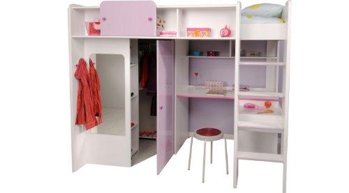 Hochbett mit schreibtisch und schrank pink for Schreibtisch yasmin