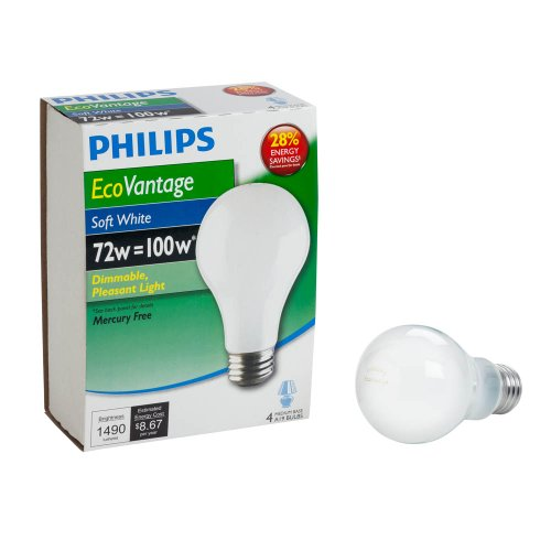 Philips 426049 72-watt A19 Dimmable  EcoVantage Light Bulb, Soft White, 4-Pack