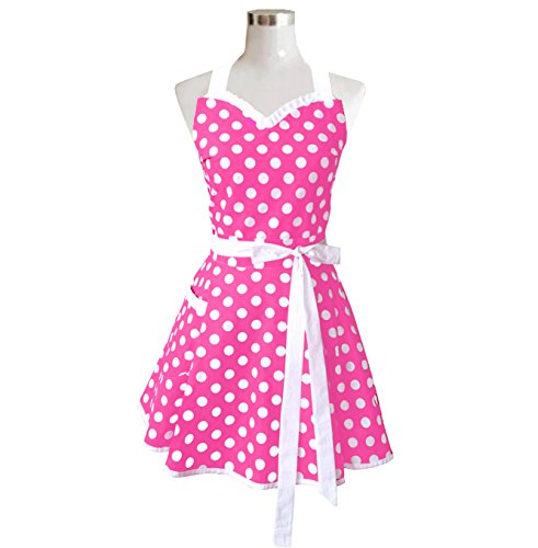 Lovely Sweetheart Pink Retro Kitchen Aprons Woman Girl ...