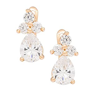 Romantic Time Gemstone Clover Multicolor Gemstone Teardrop 18k Rose Gold Plated Three Prong Dangle Earrings(transparent)