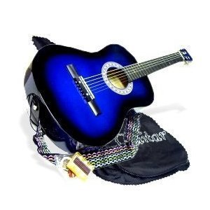 "38"" BLUE Acoustic Guitar Starter Package, Guitar, Gig Bag, Strap, Pitch Pipe & DirectlyCheap(TM) Translucent Medium Guitar Pick (BU-AG38)"
