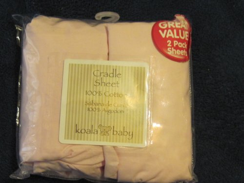 Cradle Fitted Sheet 100% Cotton 2 Pack Pink