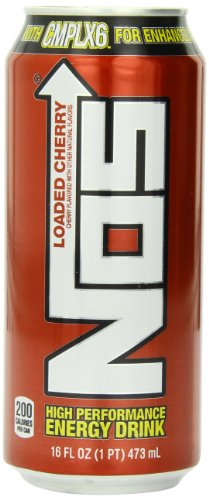 NOS Loaded Energy Drink, Cherry, 16-Ounce (Pack of 12) (Nos Energy Drinks compare prices)