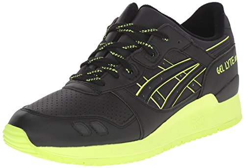 ASICS Gel Lyte III Retro Running Shoe, Black/Black/Energy Green, 10.5 M US