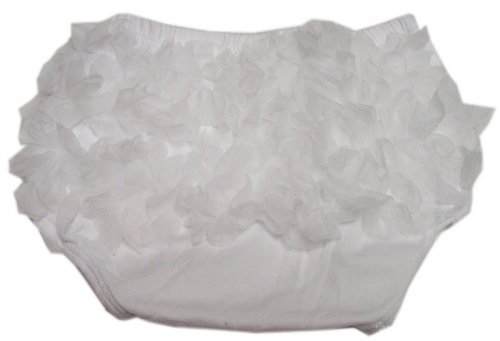 Solid White Ruffle Chiffon Ruffle Bloomer Diaper Cover. Size Small. 0 To 15 Months front-15632