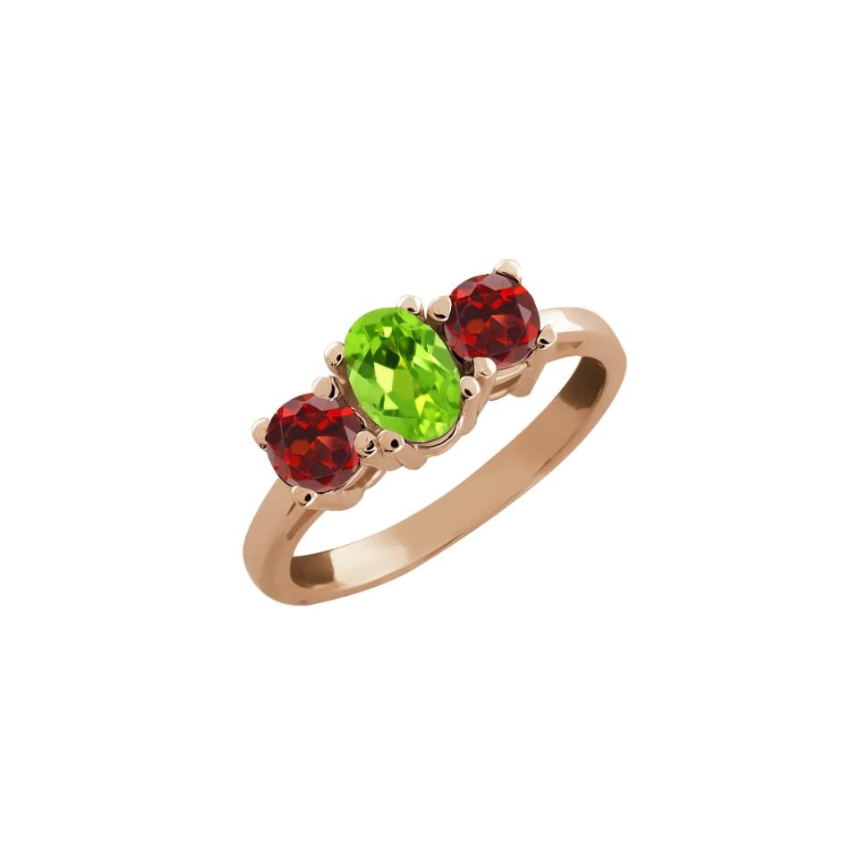 1.24 Ct Oval Green Peridot and Red Garnet 18k Rose Gold Ring
