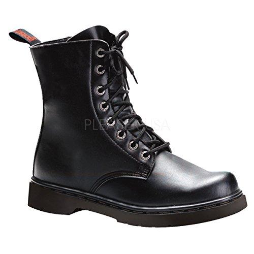 Demonia Unisex Defiant 100 Combat Boots, Black Vegan Leather, 10 M