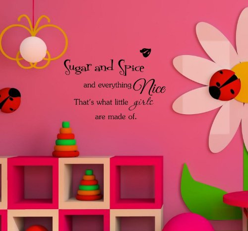 Sugar And Spice And Everything Nice That'S What Little Girls Are Made Of. Vinyl Wall Art Inspirational Quotes And Saying Home Decor Decal Sticker Steamss front-458319