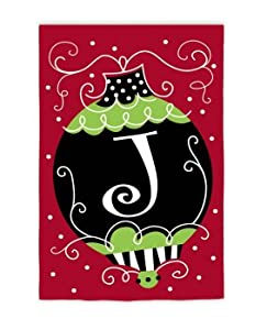 """Monogrammed """"J"""" Red, Green and Black Ball Ornament Christmas Flag 18"""" x 12.5"""""""