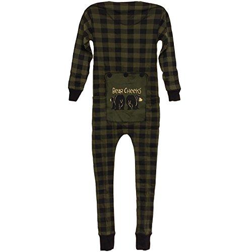 Lazy One Bear Bottom Flapjacks Pajamas (Green Plaid, XL)