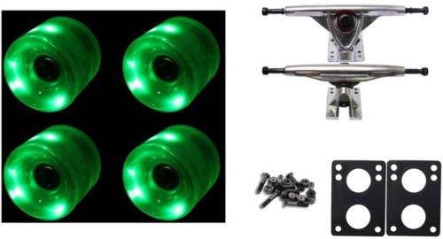 65Mm Green Led Wheels Night Light Longboard Combo 180Mm Trucks/Bearings/