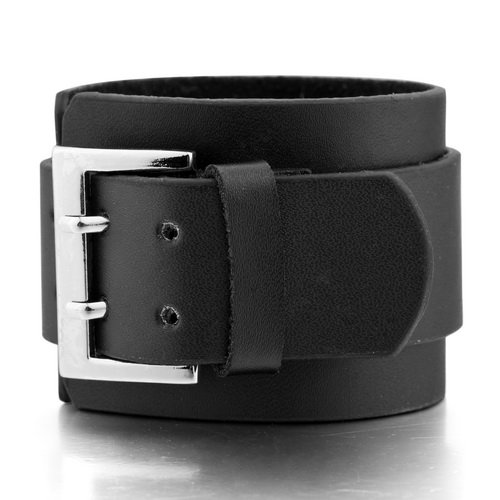 Justeel Men Genuine Leather Bracelet Bangle Black Cord Vintage , (Width x Length: 1.97 x 10.43 inches)