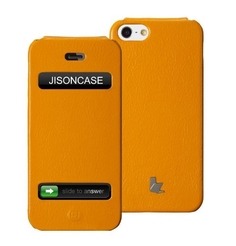 Best Price Jisoncase Executive Genuine Leather Flip Case for iPhone 5, JS-IP5-002B-Yellow