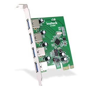 [Cord-free Power Supply, New Version] Inateck® 4 Ports PCI-E to USB 3.0 Expansion Card Interface USB 3.0 4-Port Express Card Desktop for Windows XP/7/8, Mini PCI-E USB 3.0 Hub Controller Adapter, No Additional Power Connection Needed